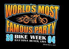 NEW~BIKE WEEK '04 DAYTONA BIKE WEEK  BIKER BAR TOUR-16 BARS! T-SHIRT~sz,LARGE