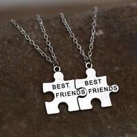 NEW BEST FRIEND 2 pcs Pendants Necklace Mood Silver BFF Friendship Chain HOT ZH