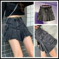 Lady Denim Cargo Skirt Pleated Punk Pocket Retro A-line High Waist Frill Fashion