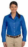 Harriton Women's Wrinkle Resistant Stain Release Long Sleeve Oxford Shirt. M600W