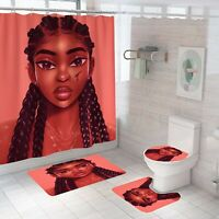 African Girl Shower Curtain Set Thick Bathroom Rugs Bath Mat Toilet Lid Cover