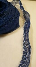 """Navy blue Lace Trim scalloped Edging Craft Sewing Bridal 10mm 3/8"""" x 1m"""