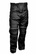 Men Black Textile Waterproof Motorbike Motorcycle Thermal Armoured Trouser Pants
