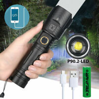 Most Brightest 20000LM XHP90.2 LED Flashlight Rechargeable 3 Modes Zoom Torch