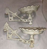 2 Antique Small Matching Pair White Oil Lamp Wall Bracket Set! Cast Iron
