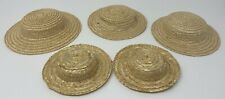Vintage Lot Of 5 Doll Straw Wicker Hats Assorted Sizes