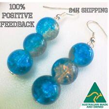 Crystal Glass Blue Aqua Earrings Drop Boho Bridal Gift Elegant Bling Beads Glow