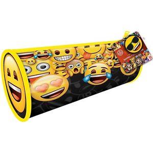 EMOJI PENCIL CASE School Cylinder Shaped Oval Stationery Holder Emoticon Smiley