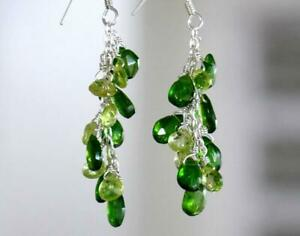 """SOLID 925 SILVER EARRINGS - PERIDOT BEADS CHROME DIOPSIDE BEADS 2 1/8"""" #D368"""