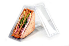 100 x Hinged Plastic Sandwich Triangle Wedge Catering Deli Packed Lunch Picnic