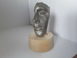 Art Sculpture,  solid pewter cast face section, 6.5 in high,  Crafted Base,