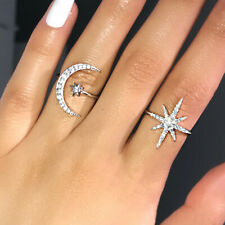 Fashion Star Moon Shaped 925 Silver Wedding Rings White Sapphire Ring Size 6-10