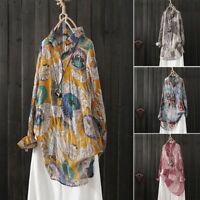ZANZEA Womens Long Sleeve Floral Printed Long Shirts Tops Casual Baggy Blouses