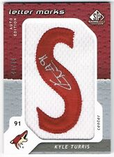 2008-09 SP GAME-USED LETTER MARKS PATCH AUTOGRAPH #LM-KT KYLE TURRIS 41/50 !! S