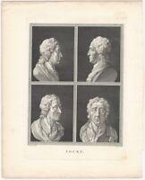 Striking 19th Century Engraving of Four Heads of John Locke