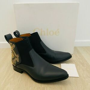 Chloe Genuine Black Studded Leather Boots Women's Size 36.5 With Box Worn Once