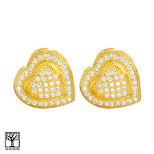 Men's Fashion Brass 14K Gold Plated 3D Heart Screw Back Stud Earrings BE 026 G
