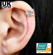 NEW SILVER KNOT CRISS CROSS EAR CUFF UPPER HELIX CARTILAGE CLIP EARRING GIFT UK