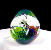 "MURANO ITALY ART GLASS CONTROLLED BUBBLE MULTI-COLOR 2 3/4"" EGG PAPERWEIGHT"