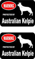 2 protected by Australian Kelpie dog car bumper home window vinyl stickers