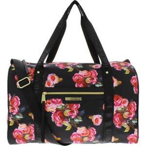 Juicy Couture Womens Rosie Black Satin Weekender Bag Purse Extra Large BHFO 8211