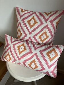 """ANDREW MARTIN FABRIC """"GLACIER"""" PIPED CUSHION COVER  TROPIC MADE TO ORDER 17""""sq"""