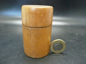 Early 20th century engraved glass medicine measure in wooden case