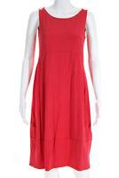 Eileen Fisher Womens Sleeveless High Waist Dress Coral Pink Size Extra Small
