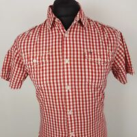 Tommy Hilfiger Mens Shirt MEDIUM Short Sleeve Red Regular Fit Check Cotton