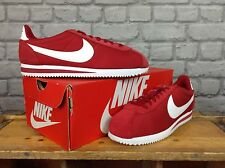 NIKE Homme UK 8 EU 42.5 Rouge Blanc Nylon Cortez Baskets