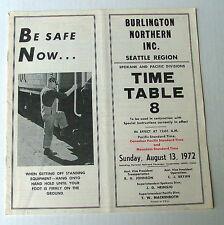 1972 AUGUST 13  TIME TABLE NO 8 BURLINGTON NORTHERN RAILROAD SEATTLE REGION #321