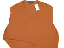 NEW $395 Ermenegildo Zegna Sweater Vest! L  e 52  ITALY Orange with Green Flecks