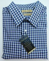 NWT Gold Label Roundtree York Blue Brown Check Men Shirt Big Tall LT 2XB 2XT 3XT