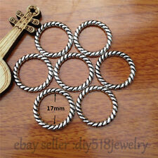 10ps 17mm Fashion Jewelry Scarf Rings Charm Tibet Silver Pendants Accessory 7561