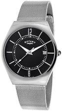 Rotary GB00033/19 Date Mesh Bracelet Black Dial Waterproof 2 Year Guar RRP £149