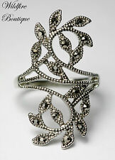 ON SALE! Vintage Silver Marcasite-Like Curling Vine Leaf Wrap Ring w/ Diamantes