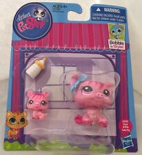NEW Littlest Pet Shop Pink MAMA PIG #3595 BABY #3596 ACCESSORIES Bottle Bow LPS