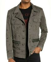 JOHN VARVATOS New Star U.S.A. Ink Drop Stained Officers Field Jacket Coal XL XXL