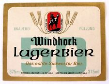 South West Breweries WINDHOCK LAGERBIER beer label SO. WEST AFRICA 375ml
