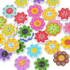 F1: 50 Mix Holzknöpfe Bunt Blumen 2 Löcher Patchwork Motivknöpfe 20x19mm