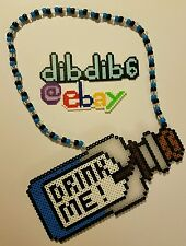 Alice in Wonderland perler kandi necklace, rave, EDC, PLUR, art, design