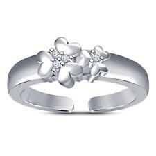 D/Vvs1 Diamond Flower Design Toe Ring 14k White Gold Over Sterling Silver 925