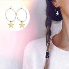 1 Pair Boho Simple Gold Color Hoop Star Drop Earrings for Women Lady