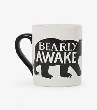 Hatley Funny Ceramic Coffee Mug CLASSIC BEARLY AWAKE 14 oz. Black Bear