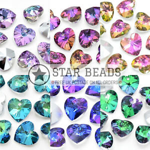 FACETED GLASS SILVER PLATED JEWELLERY MAKING PENDANTS BEADS - PICK COLOUR SHAPE