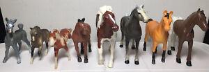 "Lot of 8, Horses Breyer, Safari, Funrise 1988 - 1999 3"" - 6"" Plastic Figure Toys"