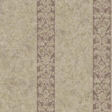 Damask Stripe in Purple & Metallic Gold Wallpaper per Double Roll   RL9512