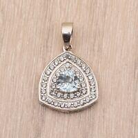 Trillion Cut Natural Blue Topaz White Rhodium Sterling Silver 925 Pendant