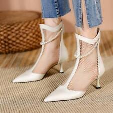 Womens Fashion Leather Mesh Pointed Toe Pearl Kitten Heel Ankle Boots Shoes SUNS