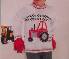 "Knitting Pattern Children's Pull Avec Tracteur Motif Tailles 22"" - 28"""
